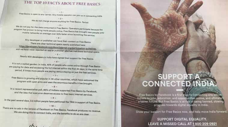 facebook free basics newspaper ads